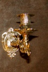 Klavier-Wandleuchter, Kerzen-Wandhalter, Messing brünniert, Requisite 1082258