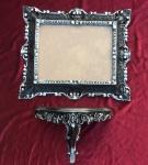 Wandspiegel mit Konsole Barock Spiegel Schwarz-silber 45x37 Spiegel antik Ablage