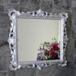 Wandspiegel Barock Silber Hochglanz 38x36 Kosmetikspiegel Antik Badspiegel