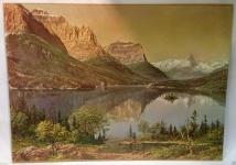 Landschaftsgemälde See Berge Landschaft Bild 50x40 Kunstdruck auf MDF Berge