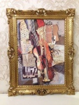 Bild mit Rahmen Jazz Violin Saxofon Trompete 90x70cm Kunstdruck Bild Wandbild