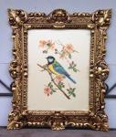 Gemälde Rahmen gold weiß Blumen Vogel Tiere 45x38cm Kunstdruck Bild Wandbild