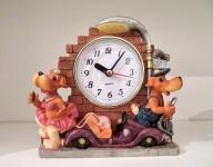 Hundefigur mit Uhr Deko Uhr 16cm Tischuhr Kaminuhr FigurenUhr Kinderzimmeruhr
