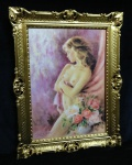 Gemälde Akt Erotik Damen Bild Sexy Frau nackte Frau 90x70 Deko Dame Rosa D9