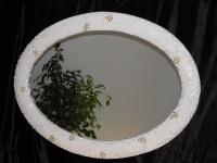 Grosser Wandspiegel GOLD -Spiegel Oval 119 x 98 Flurspiegel Mirror BADSPIEGEL