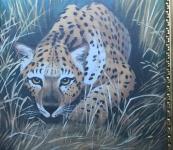 Wandbild Leopard 50x70 Bild auf MDF Platte Wilde Tiere Afrika Leoparden
