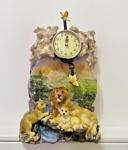 Löwen mit UhrTierfigur mit Uhr Dekoratives Löwenuhr 34cm Tischuhr Kaminuhr