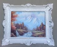 Bild mit Rahmen Gerahmte Gemälde 57x47 Wald Landschafts Bäume Berge Fluss L10