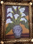 Bild mit Rahmen Blumen Calla in Vase Wandbild 57x47 Gerahmte Gemälde Gold 08