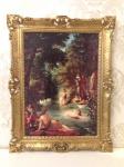 Bild mit Rahmen Gemälde Badende Frauen am Fluß 90x70 Kunstdruck Bild Wandbild