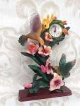 Pendeluhr Tisch/Kaminhuhr 30x20 Skulptur Figur Standuhr Kolibri Vogel Tierfigur