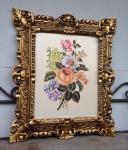 Gemälde Rahmen Blumen Bild Bilder 45x38 cm Kunstdruck Bild Wandbild mit Rahmen