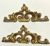 2 x Wanddeko Barock Wandbehang Gold Deko 16x6cm Wandrelief Deko Antik C1539