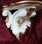 Wandkonsole Barock Weiß Elfenbein-Gold 29x25 Wandregale Antik Spiegelkonsole c77