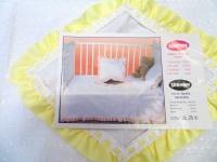 Babybettwäsche 4 tlg Baumwolle 100x150cm Kinderbettwäsche Weiß Gelb Spitzenstoff
