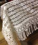 Spitzentischdecke Tischdecke Spitze festlich gesäumter Rand weiß 160x160cm Neu