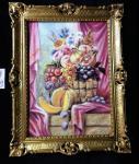 Bild mit Rahmen Gold Antik Gemälde BILDER WANDBILD 90x70cm Frucht Früchte Obst