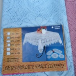 Spitzen Tischdecke häkelspitze Optik Türkis Spitze Polyester 110x160 Bestickt