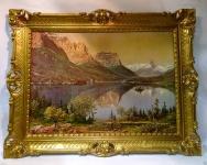Gerahmte Gemälde Berge See 90X70 Landschaft Bild mit Rahmen Berge Braun See