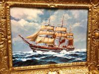 Segelschiff Amergio Vespucci Gemälde Schiffbild Bilderrrahmen Wandbild 56x46