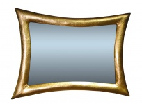 Wandspiegel Antikspiegel Gold115x85 Holzrahmen xxl Lederoptik