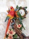 Pendeluhr Kaminuhr Tischuhr 31x20 Skulptur Figur Standuhr Papagei Deko Tierfigur