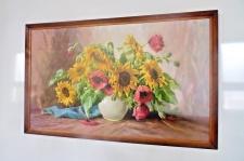 Blumen Bild Gemälde 105x66 Kunstdruck Bild mit Holzrahmen Sonnenblumen in Vase
