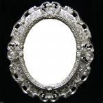 Wandspiegel Silber Barock Oval Spiegel Antik 45x38 Badspiegel Oval Spiegel 3045
