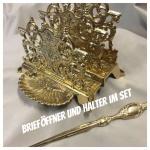 Brieföffner & Briefhalter - BRIEFSTÄNDER-Ablage-SERVIETTENHALTER Messing neu