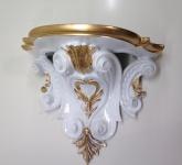 Wandkonsole Konsole Barock Weiß Gold 29x25 Wandregale Antik Spiegelkonsole