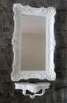 Wandspiegel Barock Weiß mit Konsole Rechteckig Antik Badspiegel 96x57 Wandablage