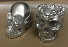 2 x Set Totenkopf Silber Skull Gothic Totenkopf als Aschenbecher