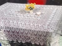 Spitzen Tischdecke häkelspitze Optik weiß Spitze Polyester 150x260cm Bestickt