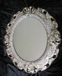 Wandspiegel Spiegel BAROCK Antik 345 ANTIKSILBER 45x38 Oval 1
