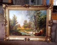 Bild mit Rahmen Schafe Ziege Bauern Schäfer 90x70cm Kunstdruck Bild Wandbild