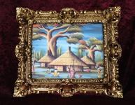 Afrikanische Landschaftsbild mit Rahmen Gold 45x38 Gemälde Landschaft Kamango