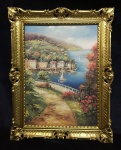 Gemälde Landschafts See Insel Bild mit Rahmen Gold Antik 90X70 Segelboot 12