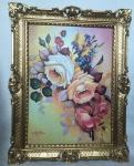 BLUMEN Rosen Bild 90X70 Bilderrahmen Bild mit Rahmen Rosenbilder Gemälde gerahmt
