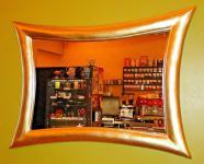 Wandspiegel Retro Spiegel groß Antik Flur/Friseurspiegel Gold115x85 Modern