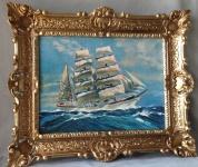Segelschiff Meer Maritime Gemälde Schiffbild Bilderrrahmen Wandbild Antik 56x46