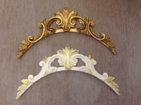 Wandrelief 3D Gold Wanddeko Barock 43x22 Türbogen Wandbehang Wandskulptur DEKO