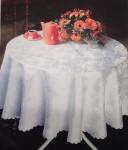 Tischdecke 135 cm Rund Weiß Damast Rosen Jacquard Polyester Tischtuch Tafeltuch