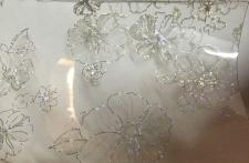Tischschutz Folie Blume Meterware Tischdecke Transparent Silber Gold 80 100cm