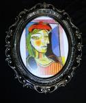 Kunstdruck Dora Mahr Pablo Picasso Bilderrahmen Schwarz-Silber Bild mit Rahmen