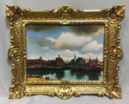 Landschaftsbilder Meer Gemälde Schiff Bild Bilderrahmen Wandbild Antik 56x46