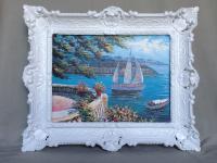 Bild mit Rahmen Paradies Italien 57x47 Landschafts Haus am See Segelschiff L11