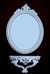 Wandspiegel mit Konsole weiß Silber 64x46 Flurspiegel mit Ablage Badspiegel