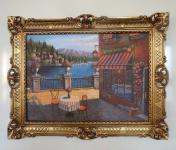 Landschafts Bild ITALIEN Cafe am See 90x70 Bild mit Rahmen Bilderrahmen Gold