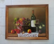 Bild mit holzrahmen Gedeckte Tisch Gemälde 36x46 Wein Weintraube Kunstdruck