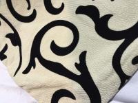 2x Ornamente Kissenhülle Kissenbezug 45x45 cm Sofakissen beige-Schwarz modern2
